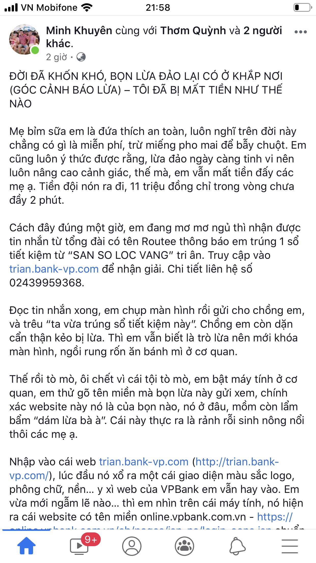 Giả trang web ngân hàng VP Bank, lừa tiền khách hàng tinh vi 2