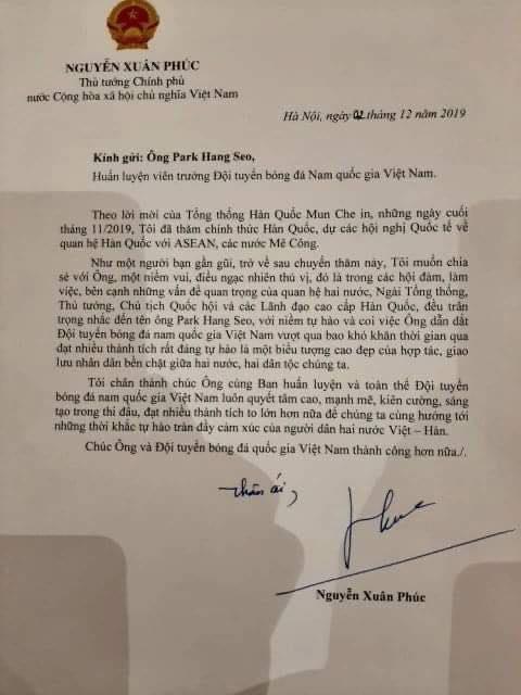 Thủ tướng Nguyễn Xuân Phúc gửi thư chúc mừng Ông Park nè! 2