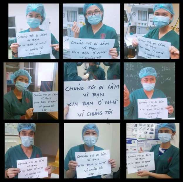 Tập thể y, bác sĩ truyền tải thông điệp ý nghĩa. Ảnh: Tiền Phong