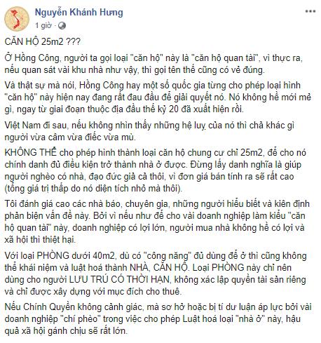 """Chủ tịch HĐQT LDG Nguyễn Khánh Hưng: 25m2 là """"căn hộ quan tài"""" 8"""