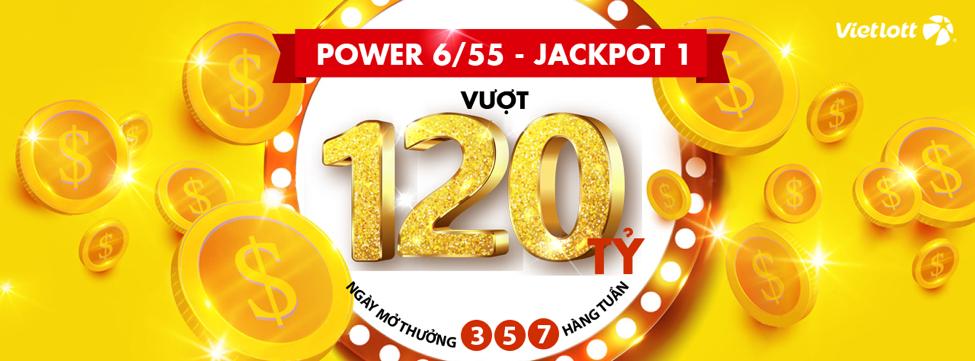 Giải Jackpot 1 của Power 6/55 đã được tích lũy lên hơn 120 tỷ.