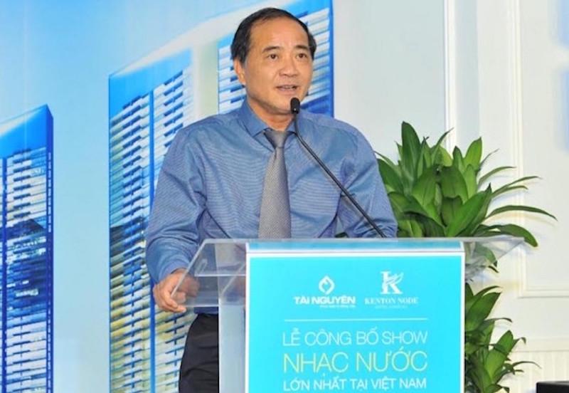 Ông Vũ Anh Tâm phát biểu tại buổi ra mắt công trình show nhạc nước lớn nhất Việt Nam hoàn toàn miễn phí cho du khách vào năm 2017
