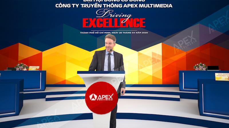 Demo phối cảnh không gian sự kiện ĐHCĐ online do Apex tổ chức