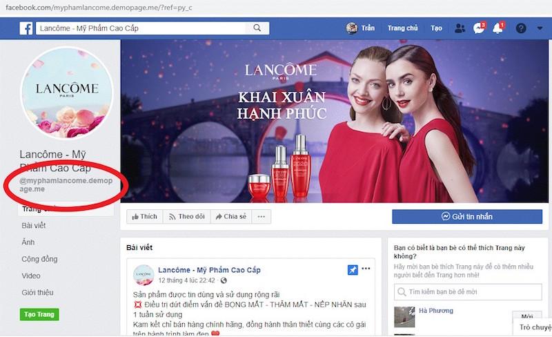 """Lancôme tố hàng loạt Fanpage và website giả mạo bán hàng """"đểu"""" 3"""