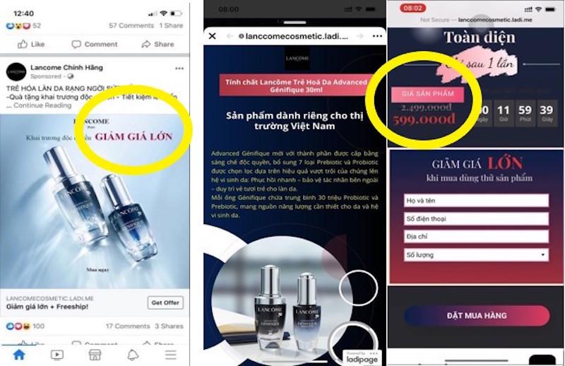 """Lancôme tố hàng loạt Fanpage và website giả mạo bán hàng """"đểu"""" 1"""