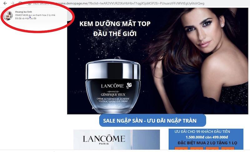 """Lancôme tố hàng loạt Fanpage và website giả mạo bán hàng """"đểu"""" 9"""