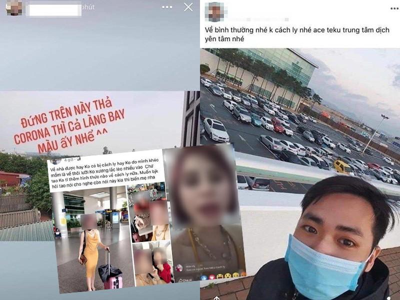 Các hình ảnh của cô gái và chàng trai đăng tải trên mạng xã hội khoe trốn được cách ly bị cộng đồng phản ứng  trong đợt dịch lần 1. Ảnh: PLO