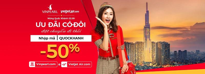Ưu đãi 50% giá phòng Vinpearl khi bay Vietjet Air 7