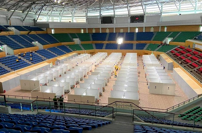 Bệnh viện dã chiến Tiên Sơn - Đà Nẵng đã được  Tập đoàn Sun Group hoàn thiện tại Cung thể thao Tiên Sơn, sớm trước 2,5 ngày so với kế hoạch