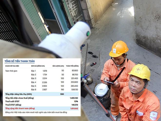 Nhân viên EVN chốt công tơ cho khách hàng; Mẫu hóa đơn tiền điện có các mức giá, cách tính (ảnh nhỏ). Ảnh: Báo Thanh Niên
