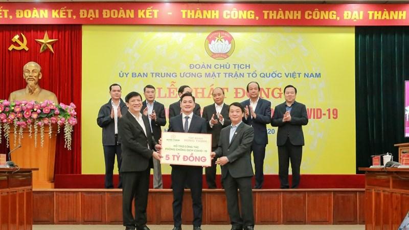 Ngày 17/3, Tập đoàn Hưng Thịnh đã ủng hộ 5,5 tỷ đồng cho Ủy ban Trung ương Mặt trận Tổ quốc Việt Nam và Uỷ ban Mặt trận Tổ quốc Việt Nam TP.HCM triển khai các hoạt động phòng, chống dịch Covid-19.