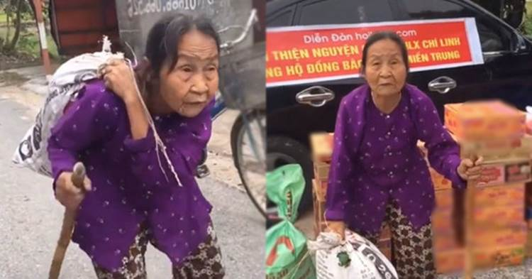 """Bà cụ ở Hải Dương """"cõng"""" cả bao đồ ủng hộ người miền Trung. Ảnh: Tin Tức Online"""