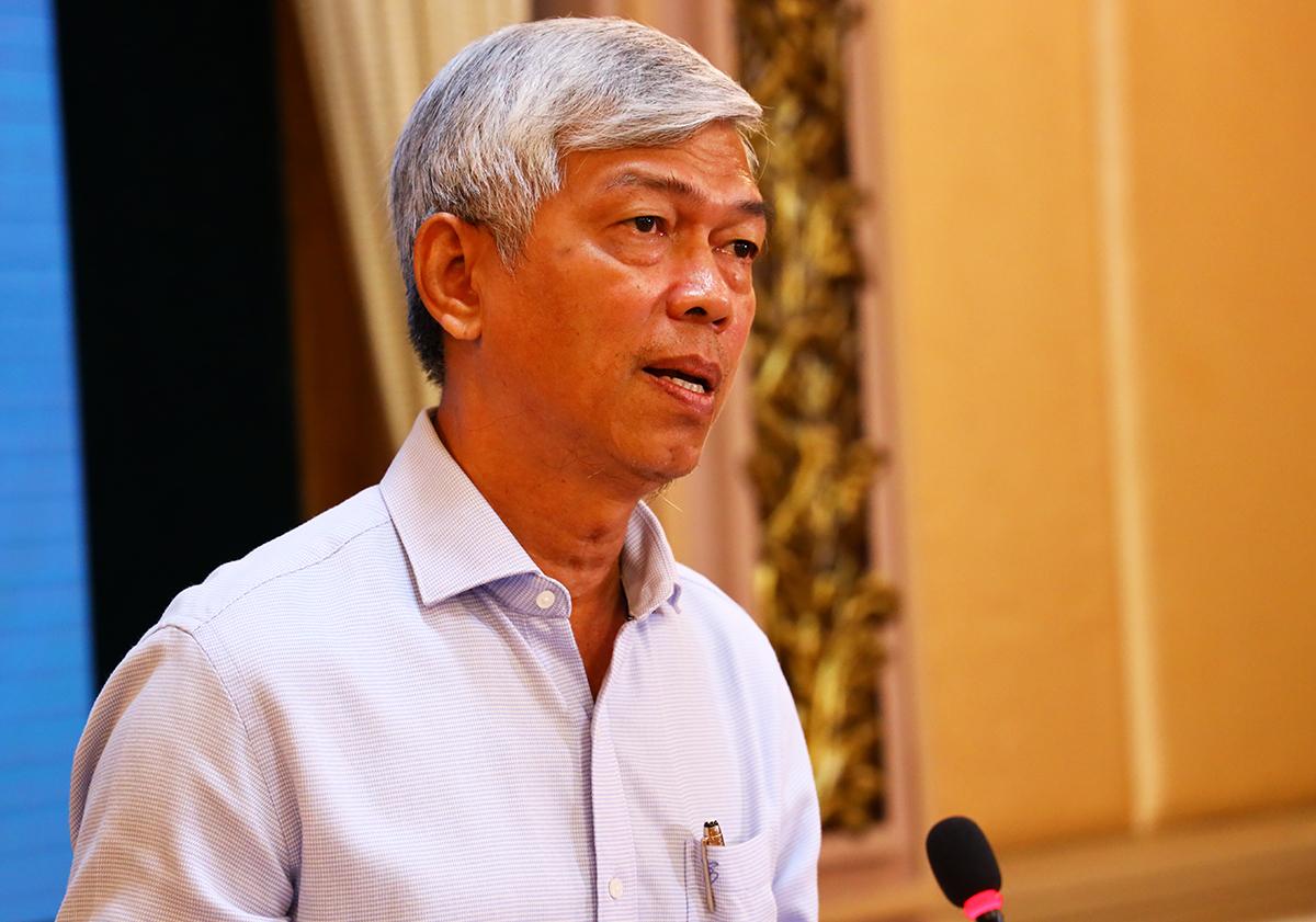 Phó chủ tịch UBND TP.HCM Võ Văn Hoan tại cuộc họp. Ảnh Trung tâm Báo chí TP.HCM