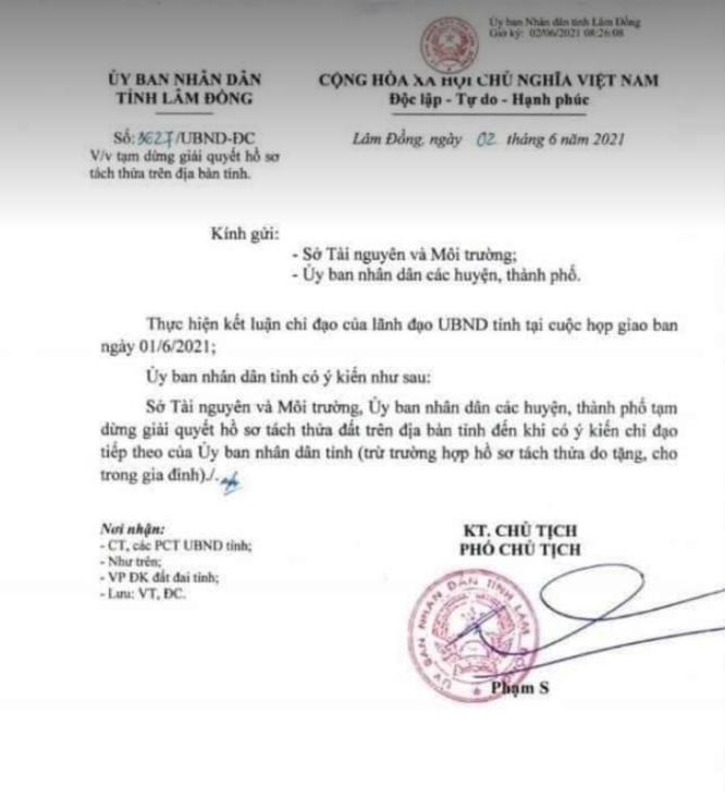 Lâm Đồng: Dừng giải quyết hồ sơ phân lô tách thửa 2