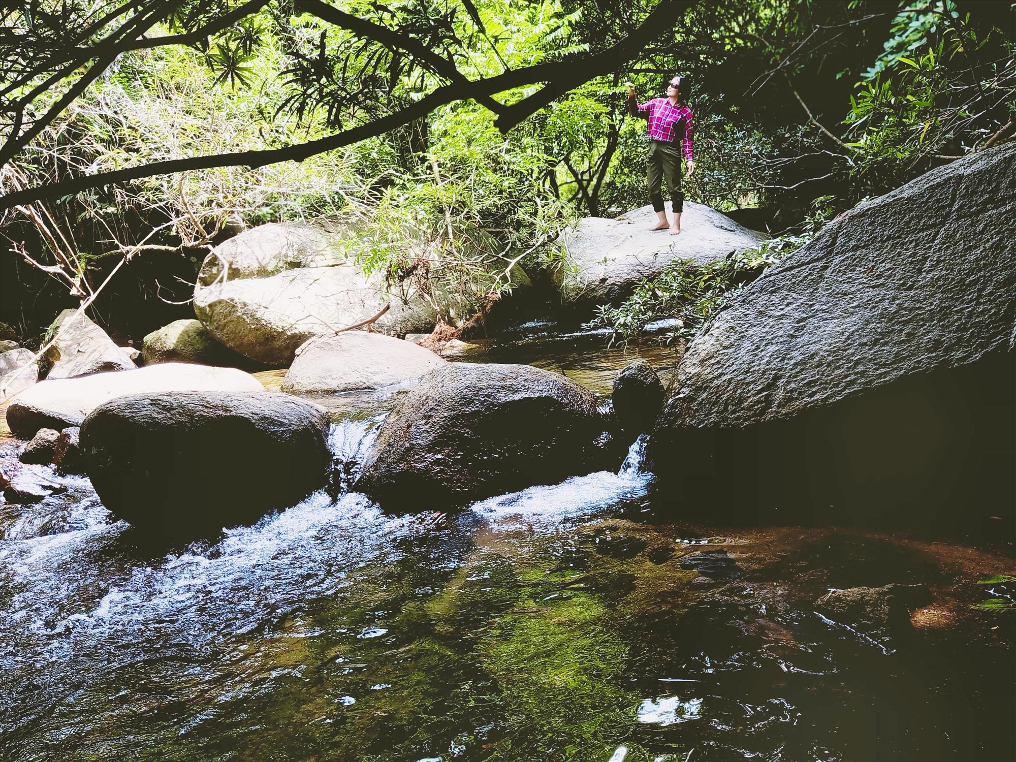 Cảnh đẹp hoang sơ của suối Đá Bàn. Ảnh: HOÀNG LIÊN