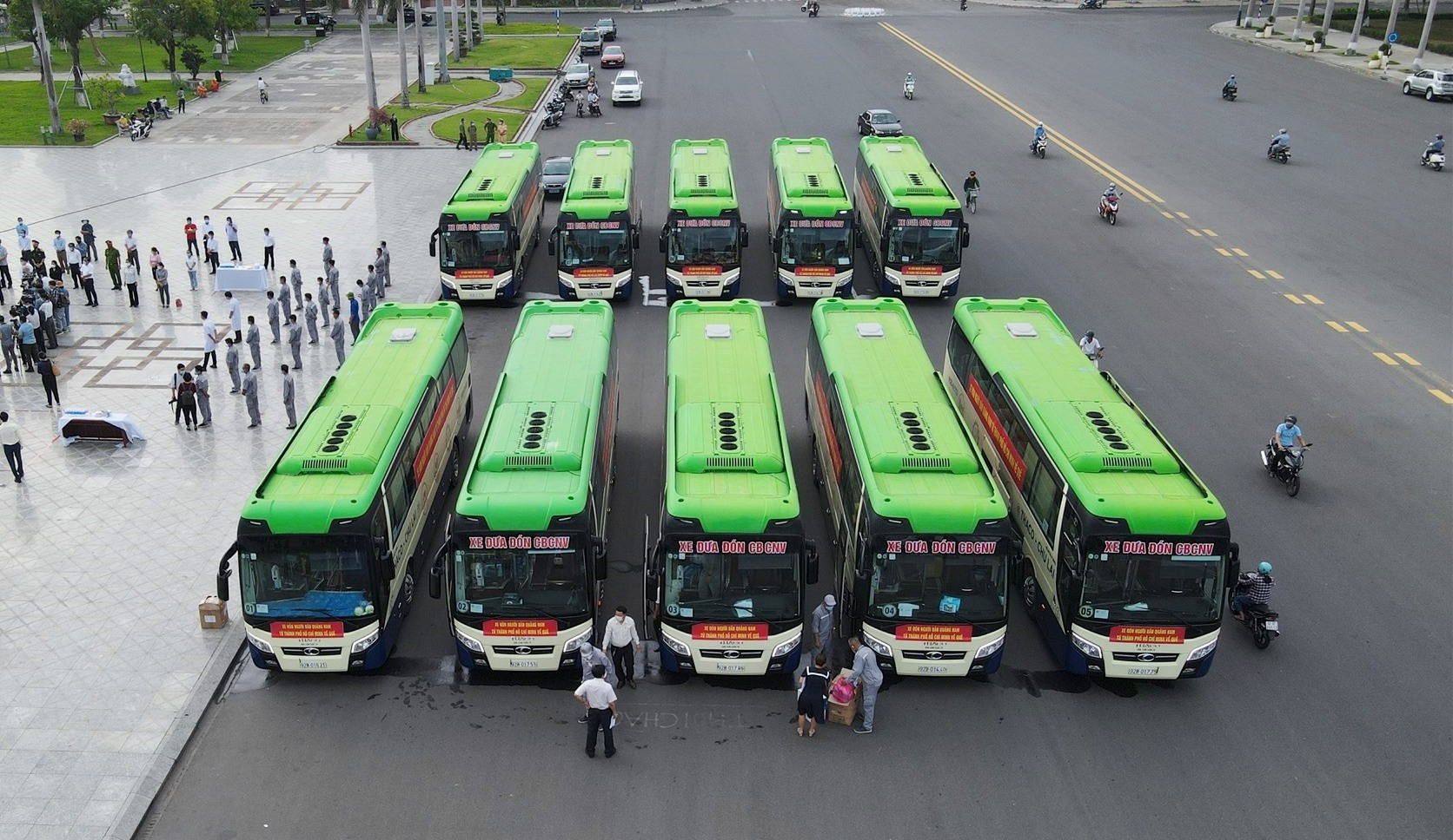 Khởi hành đoàn xe đón đồng hương Quảng Nam từ TP.Hồ Chí Minh về quê (clip) 2