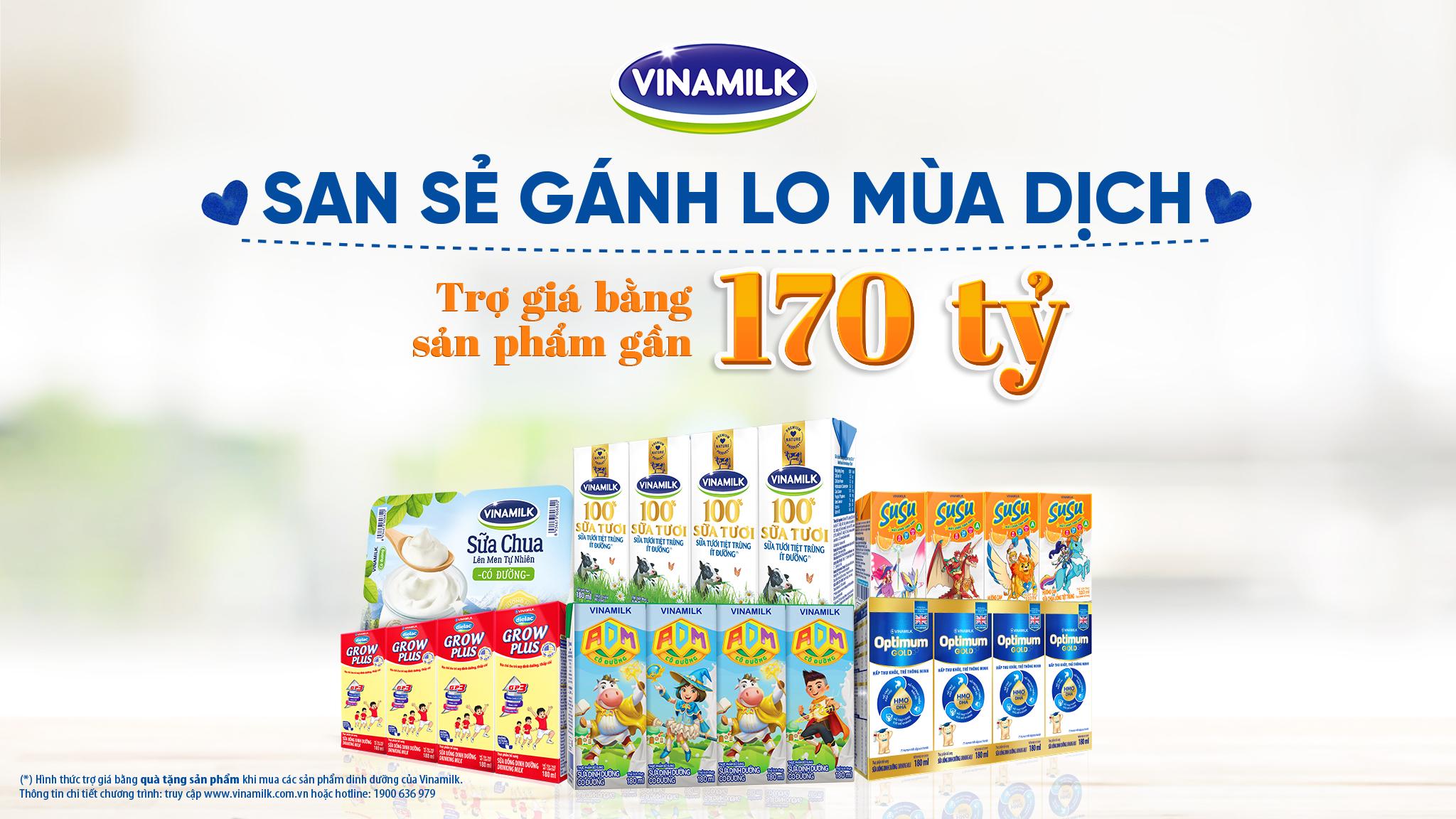 """Chương trình """"San sẻ gánh lo mùa dịch"""" được Vinamilk thực hiện trong tháng sinh nhật với mong muốn trao tặng món quà sức khỏe đến với người tiêu dùng cả nước"""